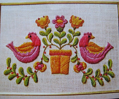 vintage embroidery detail (bewitchedmagic) Tags: pink orange bird vintage embroidery craft 70s avon 1973 crewel