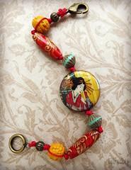 Geisha girl (lilruby) Tags: geisha bracelet brightcolors asianinspired knottedcord lilrubyhandcraftedjewelry