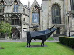 Monumental Steel Bull [Explored] (pefkosmad) Tags: sculpture art exhibition gloucestershire gloucester gloucestercathedral terencecoventry crucible2 monumentalsteelbull