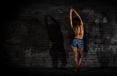 Flash Dance (granlund_fredrik) Tags: light shadow urban girl wall pose naked concrete photography model sweden flash