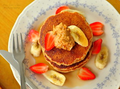 Peanut Butter Pancakes (some with chocolate chips) (vegan) (Pei-Lin Liew) Tags: vegan strawberries banana homecooking maplesyrup peanutbutter agavenectar peanutbutterpancakes colleenpatrickgoudreau nondairychocolatechips colormevegan peanutbutterchocolatechippancakes veganhomecooking