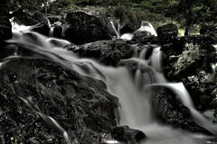 Falls (James.Whitrow) Tags: white lake black fall water monochrome speed waterfall rocks long district falls waterfalls cumbria shutter hdr