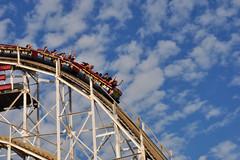 cyclone (greenelent) Tags: summer fun coneyisland ride bluesky photoaday rollercoaster 365 cyclone ammusementpark
