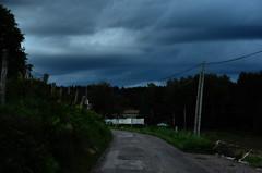 La nuit tombe sur la Corbière (Jean-Luc Léopoldi) Tags: road countryside nobody route poteau crépuscule campagne nightfall désert cielmenaçant