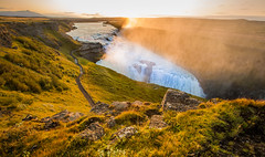 Morning Sun (Dylan Farrow) Tags: morning mist water yellow sunrise waterfall iceland gullfoss