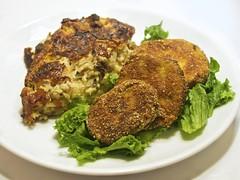 potato and onion strata with fried green tomatoes (andy pucko) Tags: pepper fry salt lettuce mozarella strata garlic eggs onion bake thyme cornmeal nutmeg greentomatoes