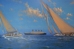 Painting of the RMS Olympic (Vintage Alexandra) Tags: ocean voyage new york travel 2 england white painting star ship mary line queen olympic titanic qm2 cunard transatlantic liner