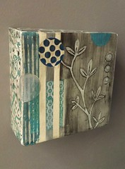 Blue Wall Tile #2 (hands2clay) Tags: tile ceramic contemporary plants design abstract screenprinted handbuilt wwwrebeccamayverrillcom bluewhite earthenware art wallflower graphic clay box