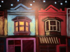 Imagined Scene of building framed by view of just Above Damzels and Goods & Provisions in Leslieville on Queen Street East at Night with Imagined Stars with Illumination by way of the painting itself and by an External Light (dnassler) Tags: painting building night stars light atnight queenstreet leslieville storefronts illuminated toronto eastend queenstreeteast