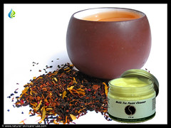 A mix black and flower tea leaves with cup of tea (natural.skincare.uae) Tags: leaves tea cup mug black green white red flower herbs drink cera belarus