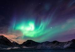 Burning clouds (jbrambaud) Tags: aurora northernlights borealis boreale lofoten light night green moutains sky burning nikon tokina
