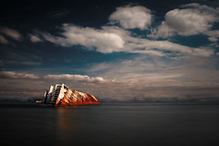 The ghost ship revisited (Tilemachos Papadopoulos) Tags: qoq winter rust reflection red fujinon fujifilm fuji contrast athens abandoned sky decay sea shipwreck greece landscape horizon xt10 clouds boat mirrorless