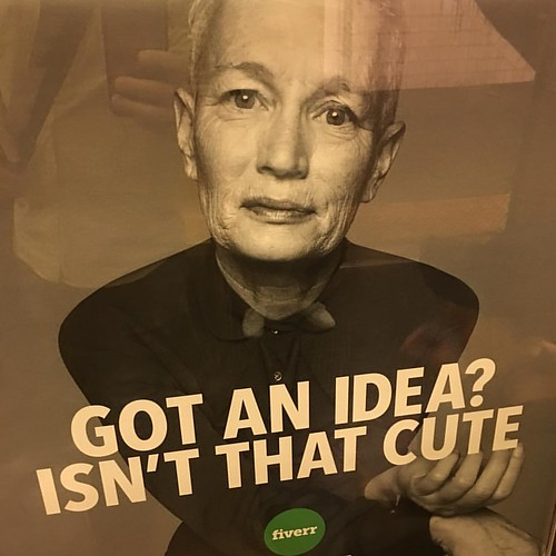 When you work on your ideas all day and life and teach ideas and want to be an example of ideas being the linchpin of a life worth living and you step into the subway where a smug stock photo intends to belittle that very drive in yourself and the people
