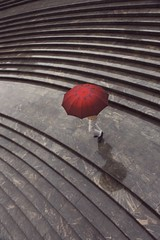 Diaries of a rainy day~ Shanghai (~mimo~) Tags: birdseye ateps curves stairs one red photography street umbrella rain