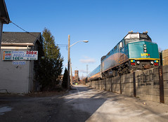 Cheap Rent, Railside (Joseph Bishop) Tags: emd f40ph3 via 6452 trains train track tracks railfan railroad railway rail rails brantford cndundassubdivision