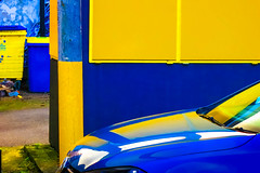 Rhapsody in Blue and Yellow (stephenbryan825) Tags: liverpool blue cars reflection reflections selects shiney vivid yellow