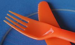 Blue and Orange (judith511) Tags: macromonday mm blueandorange cutlery knife fork plastic crockery plate