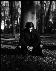 Forest of Shadows (kageaki.s) Tags: man nature portrait portraiture light contrast shadow dark grain bnw blackandwhite tokyo japan mediumformat trix400 400tx kodak 120 pentax pentax67 film model