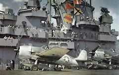 Crew of USS Yorktown and Hellcat fighters during WWII Pacific operations, August 31, 1943.