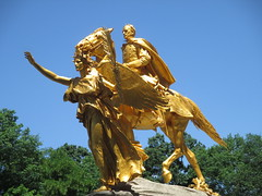 Civil War Statue General Sherman on Horseback with Angel 1323 (Brechtbug) Tags: street plaza new york city nyc roof cactus building green art yellow statue architecture angel bronze gold hotel leaf wings construction hands war pin afternoon shadows general near top flag fingers profile civil american underneath needles avenue 5th cushion sherman 59th the 06152014