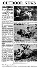 1952 Tanganykia, Africa, Elephant Bagged by Local Hunter (cobbbr) Tags: africa travel scrapbook 1950s cobb trophy caption hunt 1952 imagetypearticlenewspaper