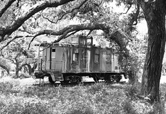 Caboose, Lavaca County, Texas 1406281355bw (Patrick Feller) Tags: barn caboose southern pacific railroad rr sp rural lavaca county texas train united states north america