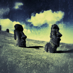 Two handsome moai