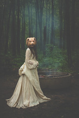 Little pig (Kilkennycat) Tags: portrait girl forest canon children photography pig woods child dress mask smoke surreal dreamy pancake firepit 500d kilkennycat 40mm28 t1i ryanconners