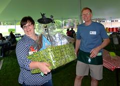 Heather Farber won a raffle! (Here with fellow board member Steve Hamilton.)