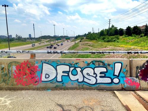 D-fuse throwie 1 #art #street #highway #dfuse #graffiti #graff #spray #paint #artist #blue