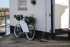 JoJo's jewellery bicycle (zawtowers) Tags: summer holiday sunshine bicycle sign shop bay fishing warm cornwall break village harbour july jewellery gift advert jojo mousehole kernow mounts 2014 porthenys