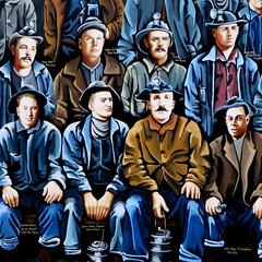 Miners memorial mural (yooperann) Tags: men art public mural michigan upper kelly meredith sue names peninsula miners individual ironwood yoopers martinsen