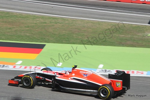 Max Chilton in his Marussia in Free Practice 2 at the 2014 German Grand Prix