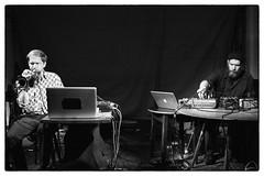 Kevin Drumm & Axel Drner @ Cafe Oto, London, 22nd July 2014 (fabiolug) Tags: leica blackandwhite bw music london monochrome 35mm blackwhite concert experimental live duo voigtlander gig livemusic performance trumpet rangefinder synth improv monochrom improvised avant biancoenero dalston avantgarde synthesiser kevindrumm axeldrner leicam voigtlandernokton35mmf14 voigtlandernoktonclassic35mmf14 cafeoto voigtlander35mmf14 mmonochrom leicammonochrom leicamonochrom kevindrummaxeldrner modifiedtrumpet