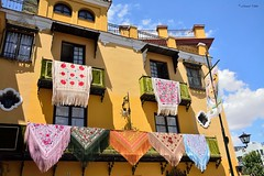 Balcones del Atrio (Retratista de paisajes y paisanajes) Tags: españa sevilla basilica andalucia balcones mantones virgenesperanzamacarena