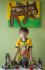AubreyDayBefore7-4108.jpg (labrossephotography) Tags: birthday boy portrait cute green yellow project painting creativity cow child lego son aubrey 7yo
