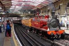 Steam on the Underground (McTumshie) Tags: england london train unitedkingdom railway steam locomotive farringdon tfl londonist transportforlondon hammersmithcity metropolitanrailwayeclass steamontheunderground 9august2014 metropolitansteamlocomotiveno1 xm14