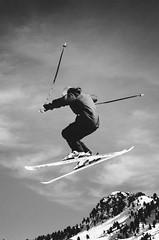 Skier (anthonyharle.com) Tags: park sky blackandwhite cloud white black ski clouds snowboarding blackwhite high jump skiing awesome extreme snowboard vans trick sick snowboarder skier xtreme skisnowboard ma