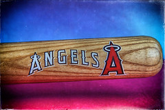 It's Signed Too (hbmike2000) Tags: wood blue red texture sports sport paper miniature nikon baseball bat grain angels d200 vignette hdr textured mlb odc biga baseballbat angelsbaseball hbmike2000