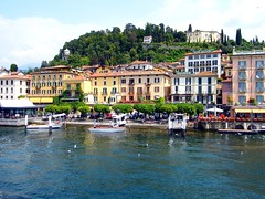Bellagio (View of the town,from Lake Como) (Netty 78) Tags: old blue trees italy holiday water beauty buildings landscape boats town italian scenery europe natural resort bellagio lakecomo europeanunion lombardy 2014 provinceofcomo