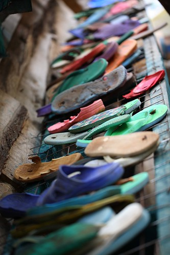 Flip-flops on the drying rack