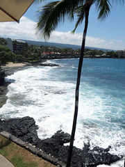 Kailua-Kona shoreline (BarryFackler) Tags: ocean sea sky beach nature water wall clouds palms outdoors island hawaii polynesia bay sand marine surf waves pacific shoreline spray palmtrees pacificocean shore foam tropical coastline bigisland aquatic condos kona kailuakona 2014 lavarock konacoast hawaiicounty aliidrive hawaiiisland kailuabay westhawaii northkona barryfackler barronfackler daylightmindcoffeecompany