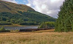"""LMS Class 5MT 4-6-0 No's 44871 and 45407 in charge of """"The West Highlander"""" on the Crianlarich to Oban leg with Lochan na Bi in the background (penlea1954) Tags: uk black west scotland 5 glasgow no great highlander first railway class steam oban 37 railways tender marquess k4 260 the lms fives 460 lner crianlarich 5mt 45407 44871 61994"""