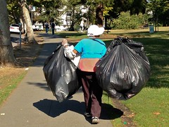 Curbside Scavenging for a Living (mystuart) Tags: poverty ca trash oakland bottles poor sanitary bayarea cans dailylife recycling landfill resources urbanlife scavenging 2014 makingaliving