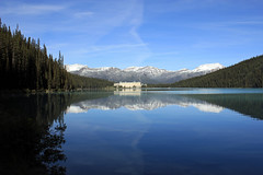 Reflected in Calm Water (JB by the Sea) Tags: distortion canada reflection rockies alberta banff rockymountains lakelouise banffnationalpark canadianrockies chateaulakelouise fairmontchateaulakelouise september2014