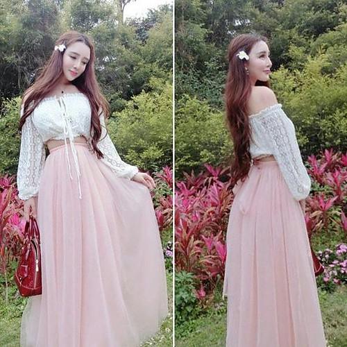 Jual Baju Wanita Korea Lace Strapless Shirt With Pink Long Skirt Pk Hanya Rp