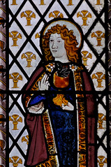Munslow, Shropshire, St. Michael's church, north aisle, east window, detail