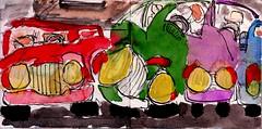 wie eine Lawine strömten sie auf ihn ein, laut johlend und kreischend (raumoberbayern) Tags: station bahnhof sketchbook skizzenbuch tram munich bus strasenbahn pencil bleistift ballpoint paper papier robbbilder stadt city landschaft landscape spring frühling summer sommer trip germany münchen car auto