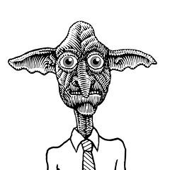 Hobgoblin (Don Moyer) Tags: hob gobling hobgoblin ink drawing sketchbook moyer donmoyer brushpen face