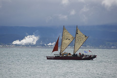 Te Matau a Maui waka in Hawke's Bay (Karen Pincott) Tags: waka doublehulledtraditionalsailingvessel newzealand polynesian boat sailing sea hawkesbay